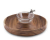 "Vagabond House Wood Cracker Tray With Song Bird Dip Bowl 15"" Diameter"