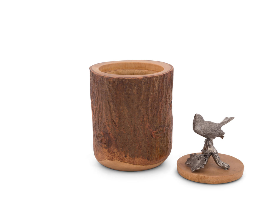 "Vagabond House Song Bird Wood Canister 9"" Tall"