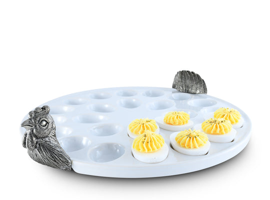 "Vagabond House Pewter Chicken Deviled Stoneware Egg Holder / Tray 13"" Diameter"