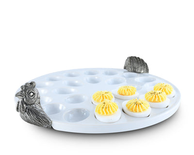"Vagabond House Pewter Chicken Deviled Stoneware Egg Holder/Tray 13"" Diameter"