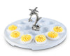 "Vagabond House Stoneware Deviled Egg Tray with Pewter Song Bird Handle; 10.5"" Diameter"