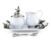 "Vagabond House Stoneware Creamer Set - Pewter Song Bird 5 Pieces creamer pitcher, lidded sugar bowl, decorative handle sugar spoon and 12.25"" long Tray for Coffee and Tea"