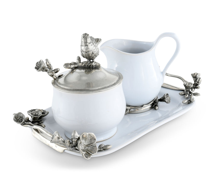 "Vagabond House Stoneware Creamer Set - Pewter Song Bird 12.25"" Long  Tray with Creamer, Sugar Bowl and Spoon"