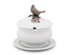"Vagabond House Lidded Porcelain Soup / Sauce / Gravy Bowl with Solid Pewter Song Bird Handle / Knob - 6.25"" Tall, 6.25"" Wide"