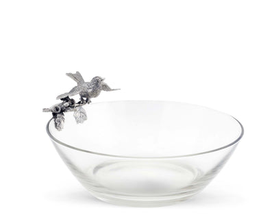 "Vagabond House Pewter Song Bird on Glass Serving Bowl 10"" Wide x 5.5"" Tall"