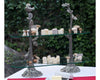 "Vagabond House Pewter Song Birds Bistro Stand Two Tier 10"" Wide x 31.5""Long x 26"" Tall"