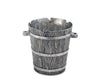 Vagabond House Pewter Faux Bois Wood Grain Ice / Wine / Champagne Bucket  with Glass Insert