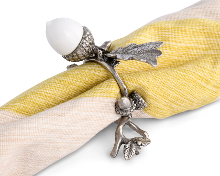 Vagabond House Napkin Ring Porcelain Acorn & Oak Leaf with Solid Pewter Accents - Formal and Everyday Rings for Cloth Napkins