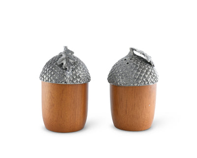 "Vagabond House  Acorns Wood and Pewter Metal Salt and Pepper Shaker Set 2"" W x 3.5"" T"