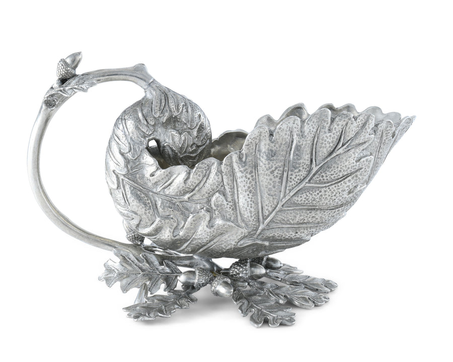 "Vagabond House Pewter Oak Leaf Gravy Boat 6.75"" Long x 5"" Wide x 3.75"" Tall"