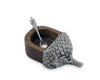 "Vagabond House Acacia Wood Acorn Salt Cellar with Pewter spoon 3.5"" Long x 2"" Wide"