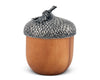 "Vagabond House Wood Box with Pewter Acorn Top Lid 6.5"" Tall"
