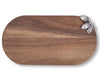 "Vagabond House  Cutting Bar / Cheese Acacia Wood Board with Pewter Metal Acorn 16.5"" Long"