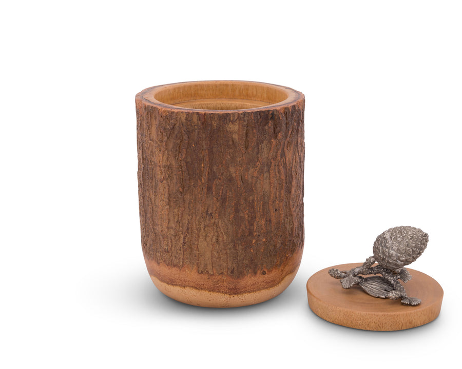 Pine Cone Wood Canister