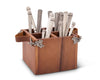 "Vagabond House Caddy Square Acacia Wood Flatware / Serve ware / Utensil / Carry-All Holder with  Solid Pewter Acorn & Oak Leaf Accent and Real Leather Handles, 4 Compartments - 8"" Squared"