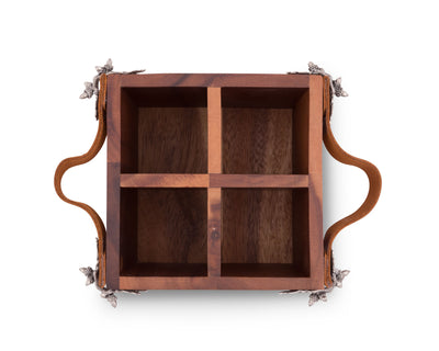 Acorn Oak Leaf Flatware Caddy - Square Box Wood