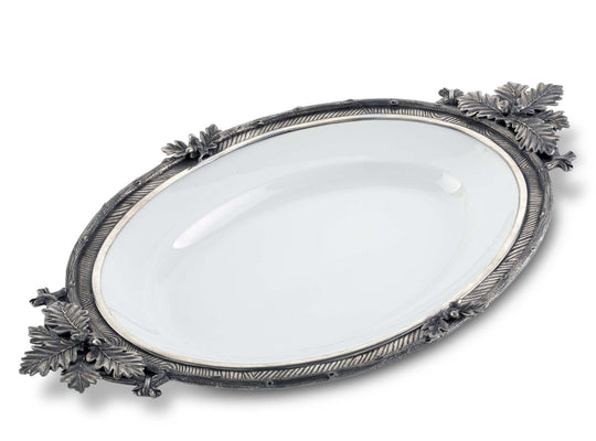 "Vagabond House Black Forest Stoneware Tray with Pewter Rim 27""Long x 16.5"" Wide"
