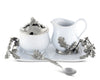 "Vagabond House Stoneware Creamer Set - Pewter Acorn & Oak Leaf 12.25"" Long"