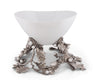 Vagabond House Pewter Oak Leaf Acorn Centerpiece Porcelain Bowl 16'' Long x 18'' Wide x 14'' Tall