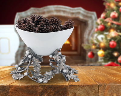 Oak Leaf Acorn Centerpiece Porcelain Bowl