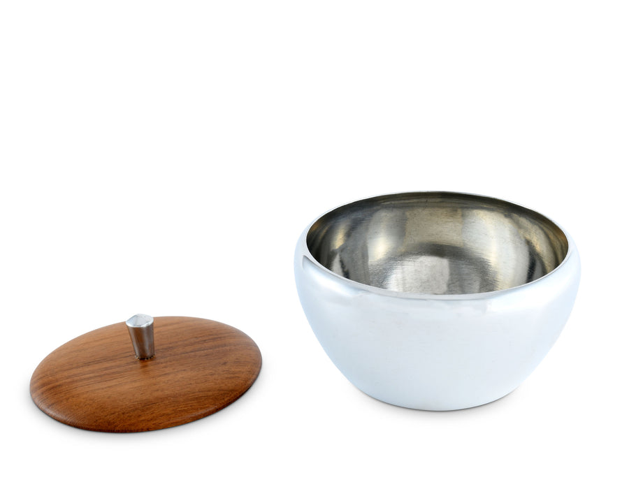 Vagabond House Tribeca Mid-Century Collection Pewter Dip / Sauce / Nut Bowl with Teak Covered Lid 4.75 Inch Diameter 3.5 Tall