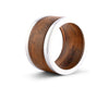 "Vagabond House Teak  Wood Napkin Ring with Pewter Metal Bands ""Mid Century Modern Tribeca Pattern - 2.5"" Diameter"