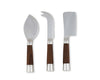 Vagabond House Modern Tribeca Collection 3 Piece Cheese Set Pewter with Teak Handles and Stainless Heads - Knife, Cleaver and Chisel