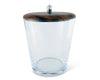 Vagabond House Modern Handblown Glass Ice / Wine Bucket with Teak and Pewter Lid; Tribeca Collection 8.25 Inches Tall