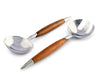 "Vagabond House Tribeca Collection Pewter and Teak Salad Server Set 11"" Long Mid Century Modern"