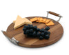 Vagabond House Modern Tribeca Collection Cheese Board Tray with Teak and Pewter Handles - 13 Inches Diameter - High Quality Mid Century Style