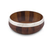 Vagabond House Tribeca Hand turned Wood Salad Bowl with Pewter Rim