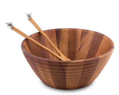Vagabond House Bee Hive Shaped Wood Salad Bowl and Salad Server Set with Pewter Bee Accent