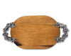Vagabond House Pewter Flower and Bee Oval Acacia wood Cheese Tray 22 Inches Long Oval