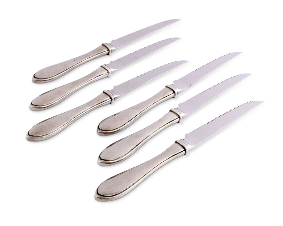"Vagabond House Pewter Wales Steak Knife Set of 6 - 9.5"" Long (Set of 6 knives)"