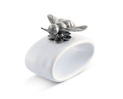 "Vagabond House Pewter Bee Stoneware Napkin Ring 2"" Tall  (Sold as Single Ring)  Artisan Crafted Designer Ring"