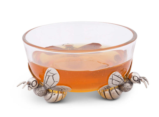 "Vagabond House Bee Honey Bowl 4.5"" Long x 4.25"" Wide x 3"" Tall (Dipper sold separately)"