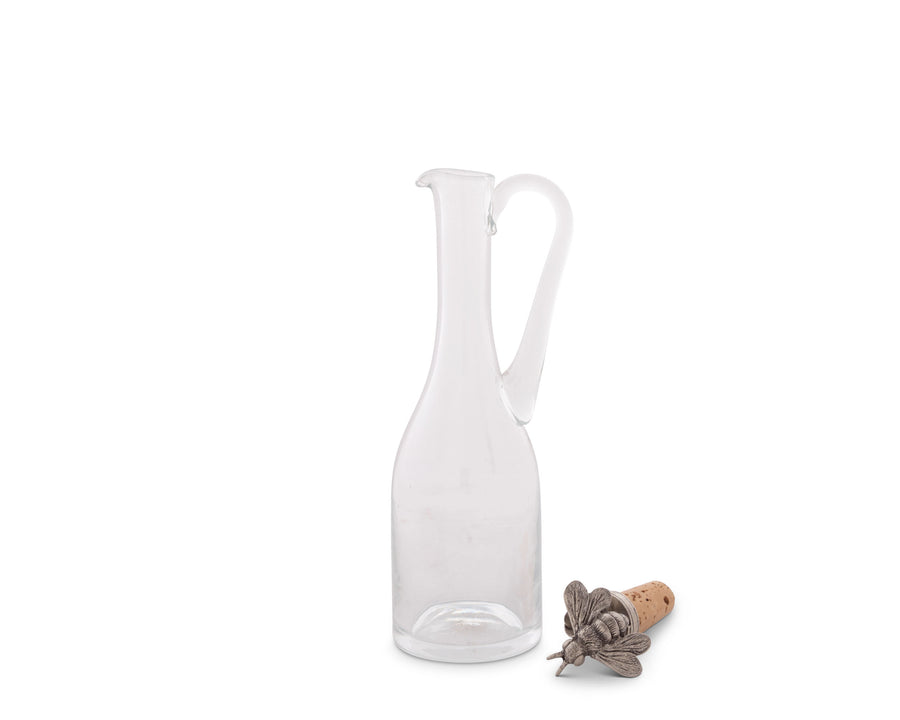 "Vagabond House Hand-Blown  Cruet Glass Bottle with Cork Stopper and Solid Pewter Bee Honey / Oil / Salad / Vinegar/ Dressing Bottle - Hand Blown Glass 9"" Tall  5oz"