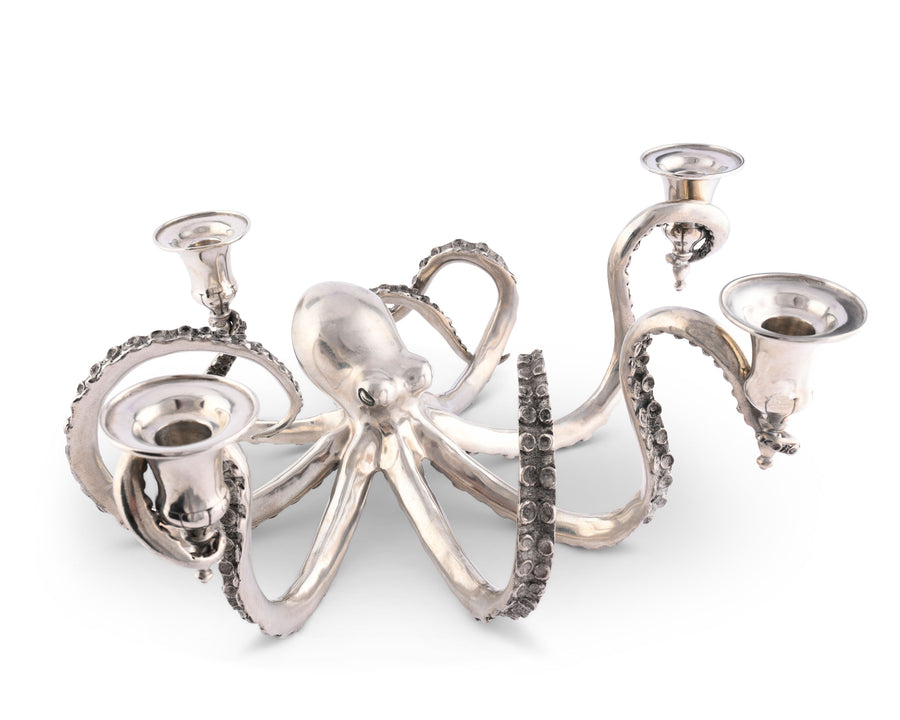 "Vagabond House Pewter Metal Octopus Candelabrum Four Taper Candles Holder 14"" Long; Ocean Tableware"