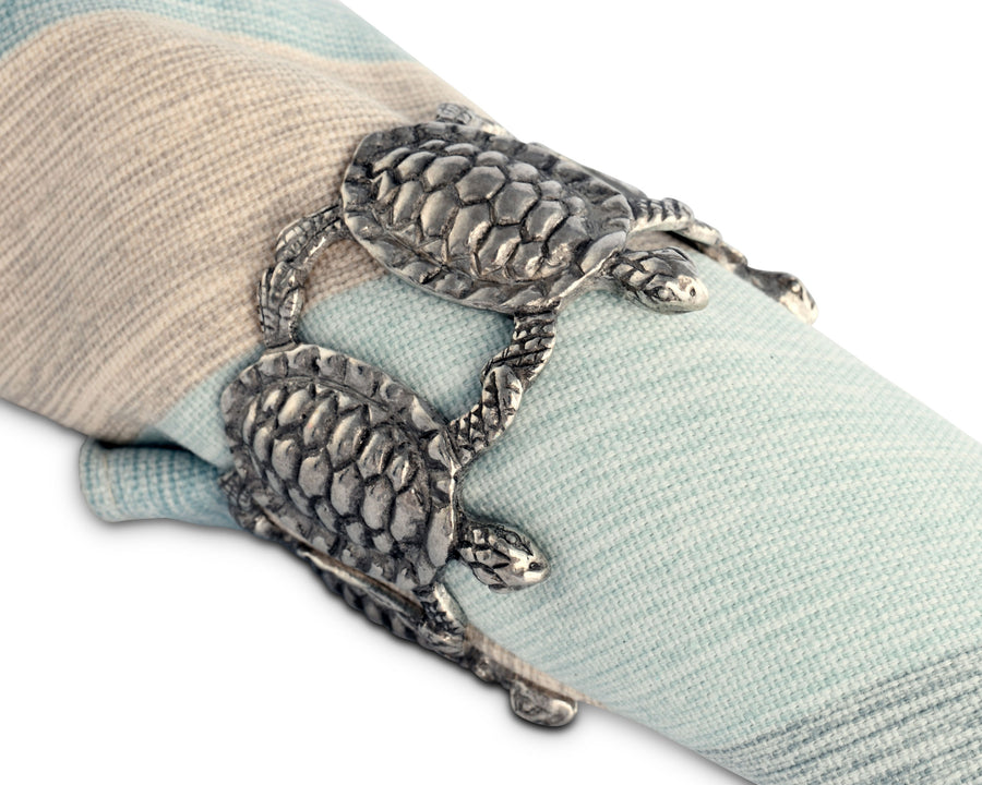"Vagabond House Sea Turtle Napkin Rings 2.25"" Diameter (Sold as Single Ring)  Artisan Crafted Designer Ring"