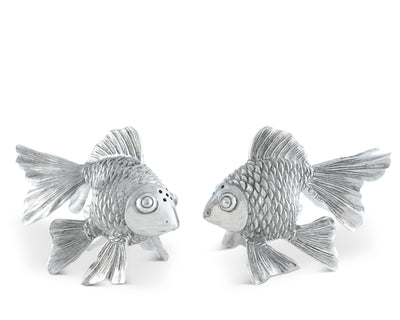 "Vagabond House Pewter Metal Ocean Sea Fish  Salt & Pepper Shaker Set - 3.25"" Tall"