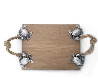"Vagabond House Pewter Crab & Rope Cheese Wood Cutting Board 20"" Long x 12"" Wide"