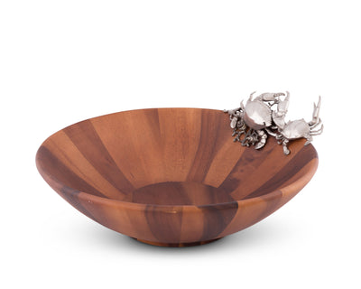 "Vagabond House Wood Salad Serving Bowl with Pewter Crab 16"" Wide"