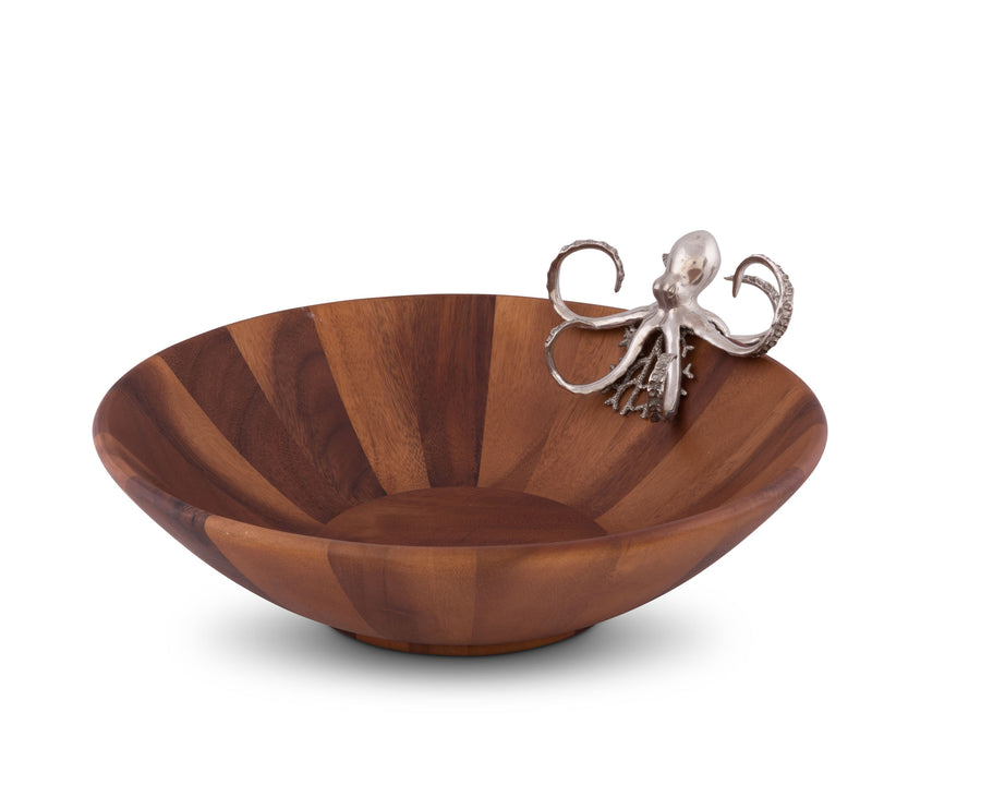 "Vagabond House Acacia Wood Salad / Fruit Serving Bowl Large with Pewter Octopus 16"" Wide"