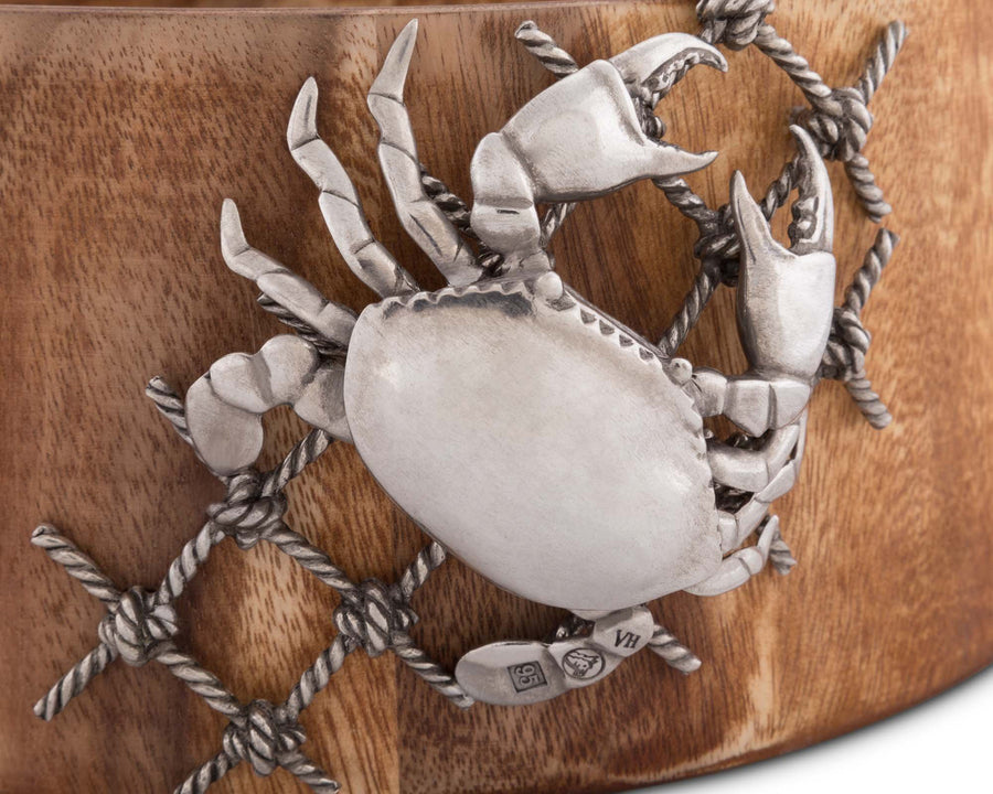 "Vagabond House Large Acacia Wood Salad Bowl with Pewter Crab in Net Accent Ocean Coastal Decor 12.5"" Diameter 5"" Tall"