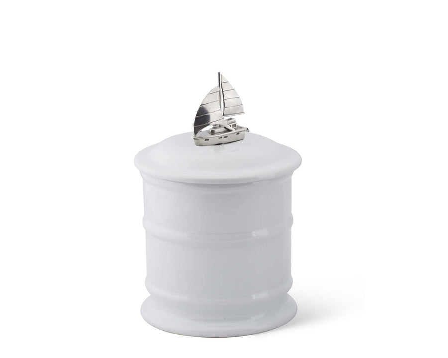 Stoneware Canister - Tall - Sail Boat  Vagabond House