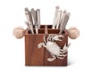 "Vagabond House Caddy Square Acacia Wood Flatware / Serve ware / Utensil / Carry-All Holder with  Solid Pewter Crab Accent and Real Rope Handles, 4 Compartments - 11"" Long"