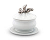 Vagabond House Lidded Stoneware Sauce / Gravy / Soup Bowl Lid and plate with Solid Pewter Octopus Handle / Knob