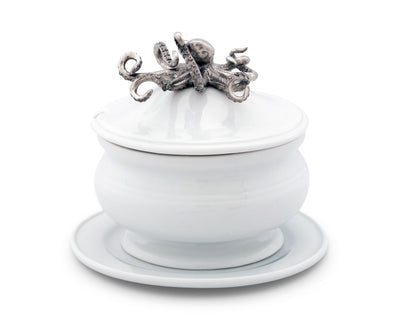 Octopus Stoneware Covered Bowl