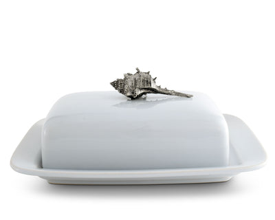 Conch Shell Stoneware Butter Dish