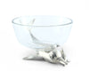 "Vagabond House Dip Bowl with swimming Pewter Dolphin Base 5"" Diameter x 4.5""Tall"